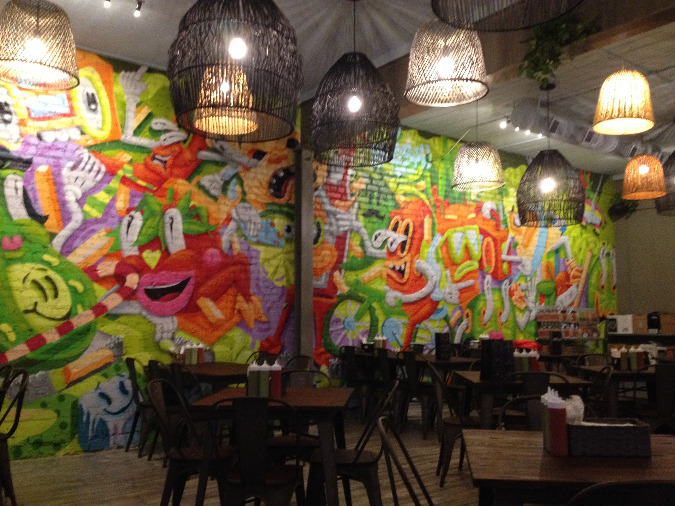 The new Maciel's features brightly colored artwork and a laid back cantina-like vibe.