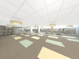 Rendering of the mind and body space at Germantown Athletic Club