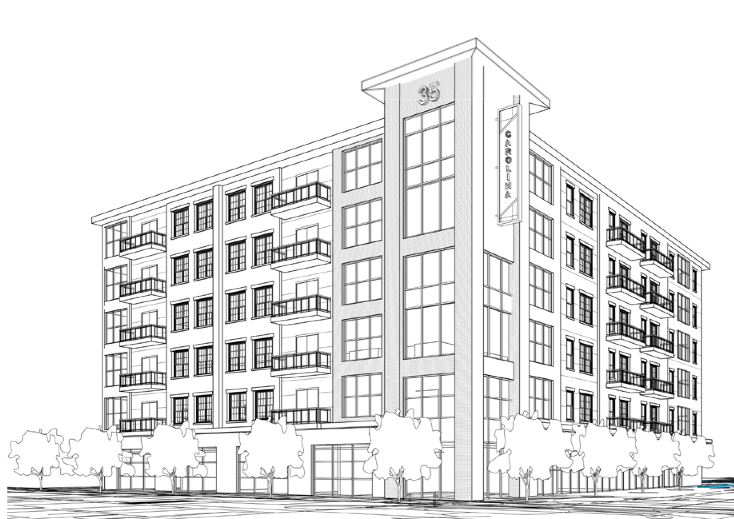 An early rendering for the prject features podium-style construction, with residential over retail space.