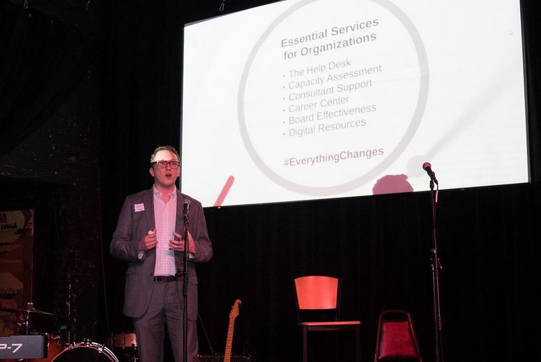 Momentum CEO Kevin Dean talks about essential services for non-profits at the Nov. 7 event.