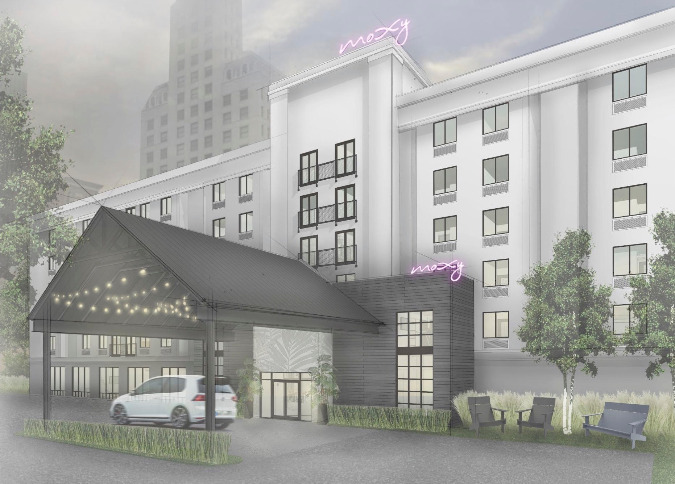 An artist rendering shows the reworked exterior for Moxy Memphis Downtown.