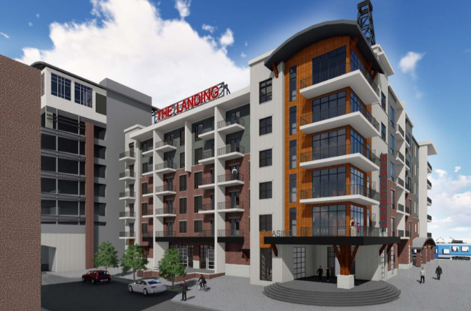 The project's residential component will connect to the parking garage.