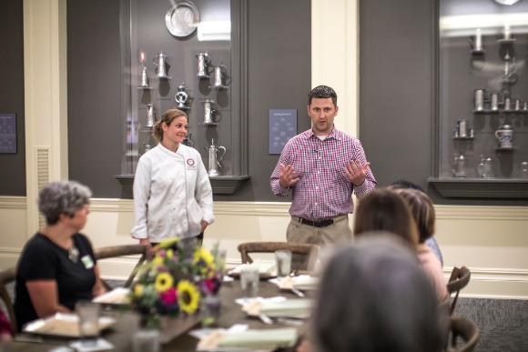 Kristi and Kevin Bush of CFY Catering talk about the new menu at a food tasting on July 13.