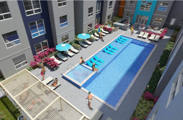Luxury amenities at The Nine @ Memphis include a resort-style swimming pool.