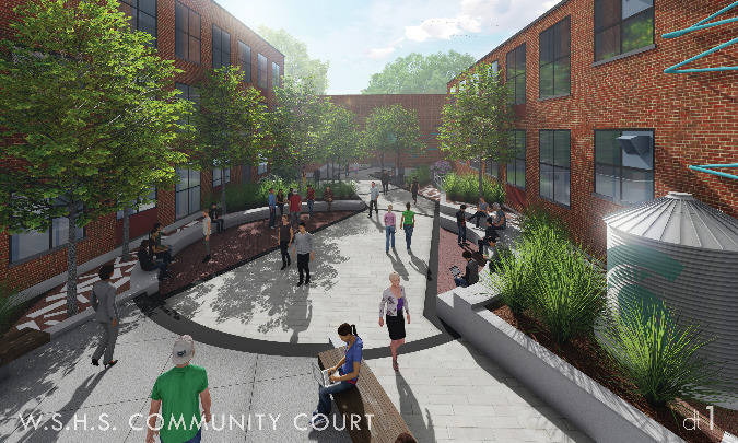 The community court at White Station High School will reinvigorate a blighted area of the school.