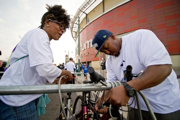 Riders lock up their bikes at the FedEx forum