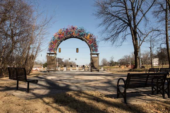 Sculptural bike gateway to Overton Park made by artist Tylur French