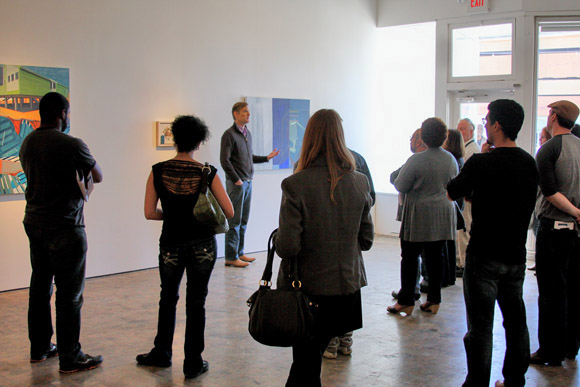 "Ian Lemmonds holds a gallery talk at  ""Inspired Resistance"" exhibit"