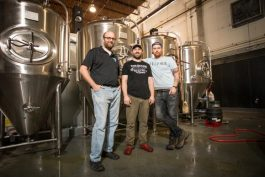 Memphis Made founders Drew Barton and Andy Ashby with brewer Alex Ball