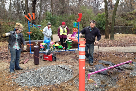 Working on Bike Gate at Overton Park