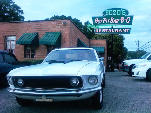 Craig's '69 Mustang parked at Bozo's Hot Pit Bar-B-Q in Mason, Tenn.