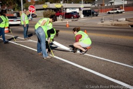 Cleveland Street being painted in preparation of MEMFix in Crosstown