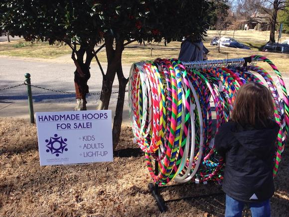 Handmade and designed hoops for sale outside of Co-Motion Studio