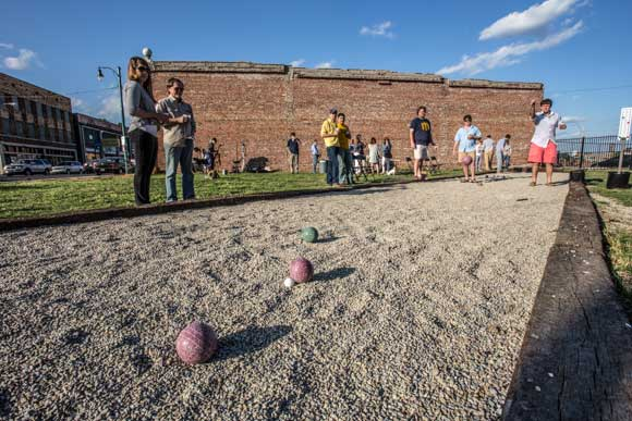 A new bocce court was recently installed in a vacant lot