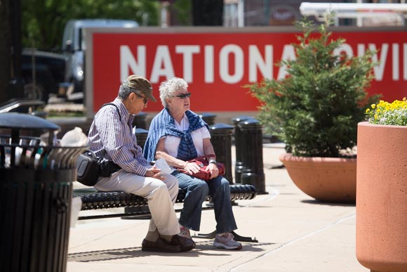 Tourists rest outside of the National Civil Rights Museum