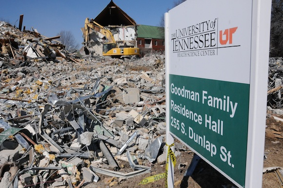 Demolition of the Goodman Family Residence Hall