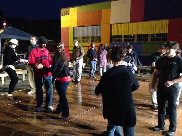 "People gather in Binghampton for Dance on Broad, an ""active arts"" program"
