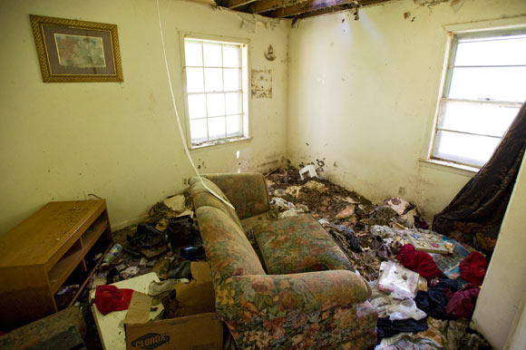 A view inside a dilapidated house at 3131 Mountain Terrace
