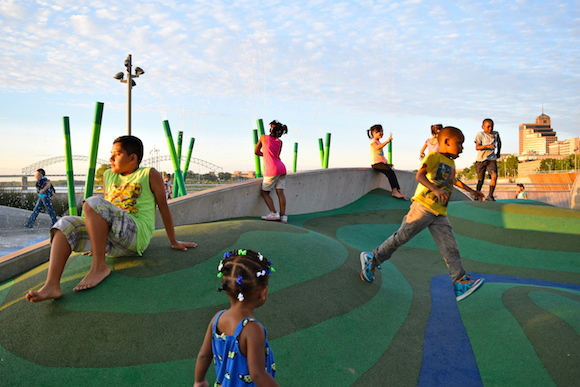 A riverfront playground was added as part of the area's major revitalization.