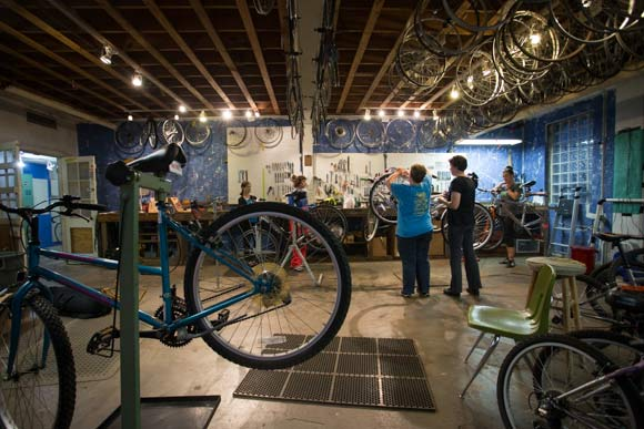 The Revolutions shop is a space where people can rehabilitate and recycle bicycles