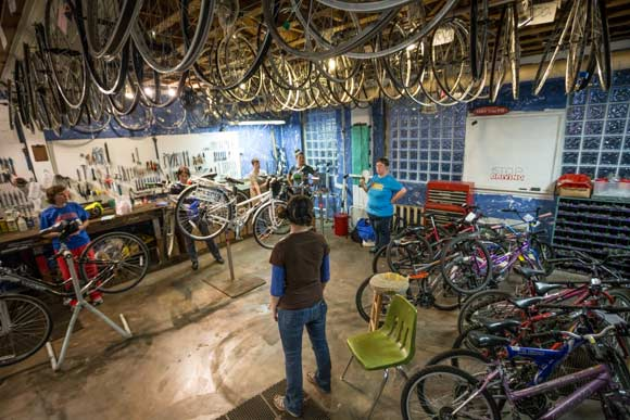 Revolutions Bicycle Co-op is a 12-year-old organization that's just as interested in helping cycling newbies as longtime pedalers