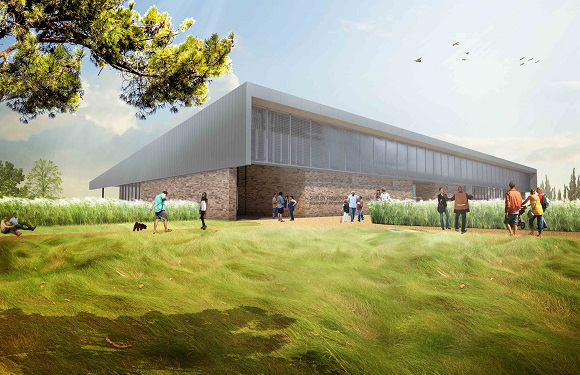 Rendering of the new The Kitchen restaurant at Shelby Farms Park