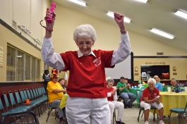 Low-income seniors compete in a Wii Bowling tournament sponsored by the Golden Cross Senior Residents Fund.