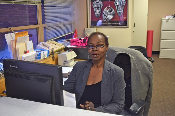 Administrator Arlinda Brown's is the first face many MASE students see when they get to school in the morning
