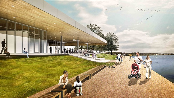 Renderings of the new The Kitchen restaurant at Shelby Farms Park