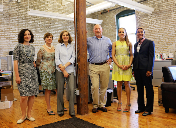 The Innovation Team includes Abby Miller (left), Megan Higgins, Suzanne Carlson, director Doug McGowen, Kerri Campbell and Nichole Scarboro. Their office is housed downtown at Emerge Memphis