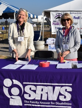 Mary Dudley (left) with Jane Sadler at a SRVS fundraising event