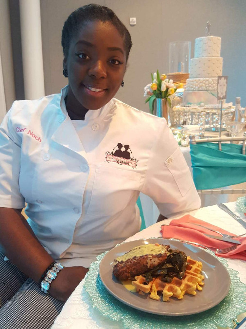 Tanacha Thedford shows off one of her mouthwatering creations.