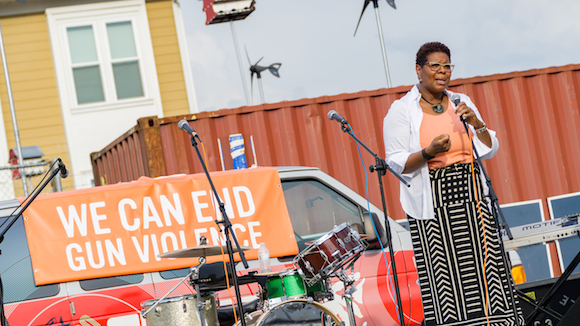 Terri Lee Freeman, President of the National Civil Rights Museum, addressing the guests