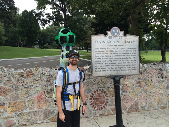 CVB intern Stephen Ferguson uses the Google Trekker backpack at Graceland