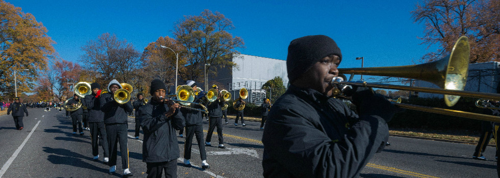 Whitehaven High School band parades with three other schools that secured state football titles.