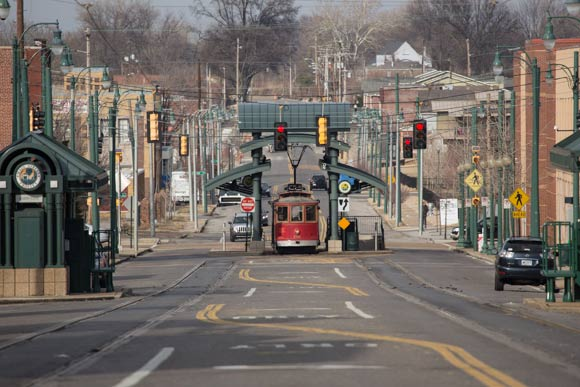 Trolley on North Main Street