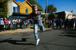 Memphis jooker Ryan Haskett dances for onlookers
