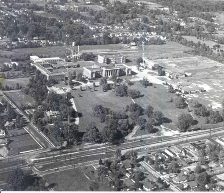 Aerial View 1940: An aerial view of what was then West Tennessee State Teachers College. You can just make out Normal Depot in the lower right of the picture. (Memphis Public Libraries)