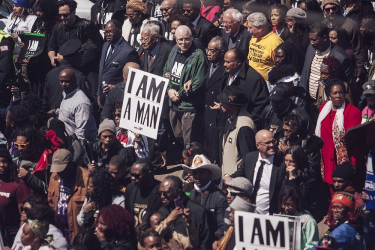 Rev. James Lawson, AFSCME president Lee Saunders, Rev. Al Sharpton and Rev. Dr. Martin Luther King III. (Andrea Morales/MLK50)