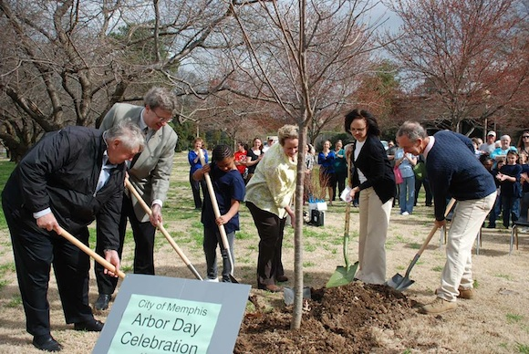 Memphis City Beautiful leads tree plantings on Arbor Day.