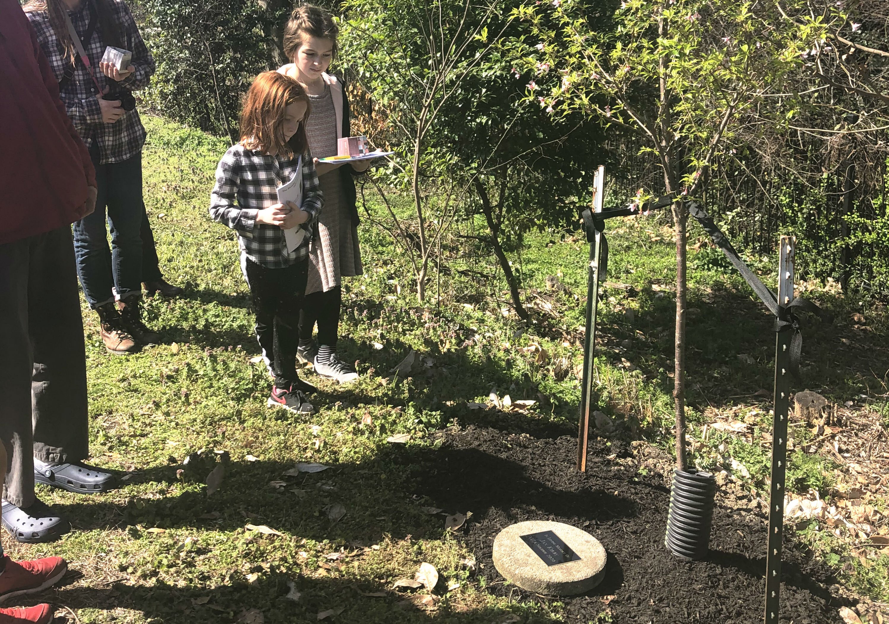 Neighbors and friends reflect on the life of longtime Vollintine-Evergreen resident and V&E Greenline leader, Jan Kirby. At the March 7 Arbor Day Celebration, those gathered installed a plaque and planted a tree in Kirby's honor. (Ashley Davis)