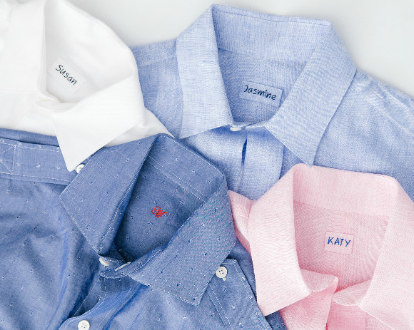 Monte Stewart's clients pick from a variety of men's shirts fabrics to create a personalized shirt dress.