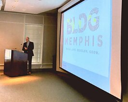 Executive Director John Paul Shaffer announces the BLDG Memphis rebrand in April 2017. It was previously the Community Development Council of Greater Memphis. (Submitted)