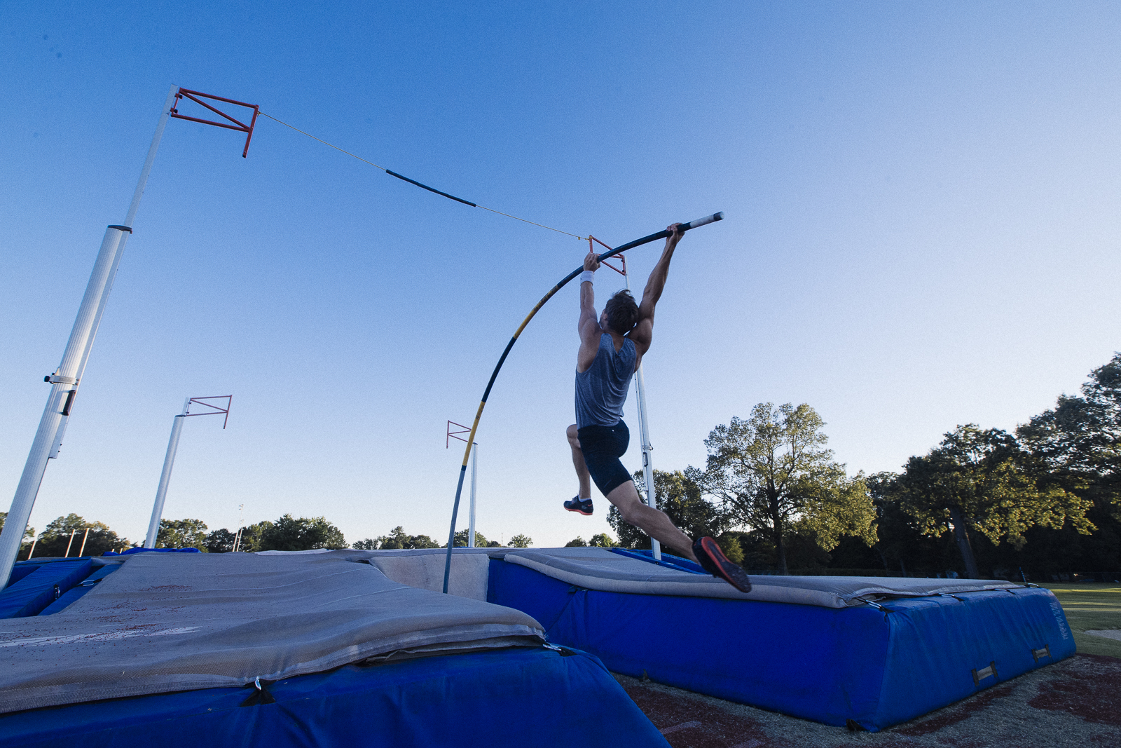 "2016 Summer Pole Vaulting Olympiad Pauls Pujats at University of Memphis South Campus. ""I think it would be nice if people could just constantly be proud of [the university],"" said graduate student Lucas Skinner. (Ziggy Mack)"