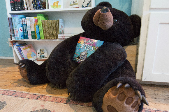"A stuffed bear clutches ""Goodnight Memphis"", a children's book by local author Grace Hammond Skertich."