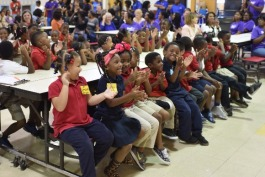 Over 400 students at LaRose Elementary school attended a short presentation before receiving backpacks filled with school supplies and materials for their parents.
