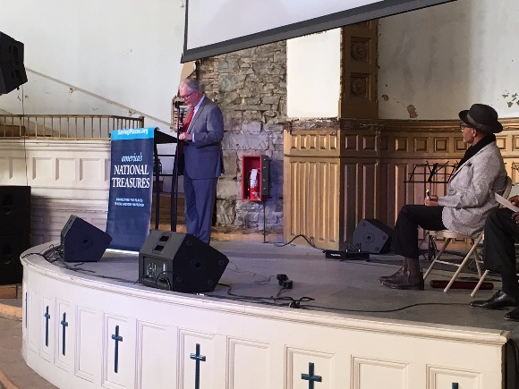 David Brown, executive vice president and chief preservation officer for the National Trust for Historic Preservation, addresses the crowd at Clayborn Temple.