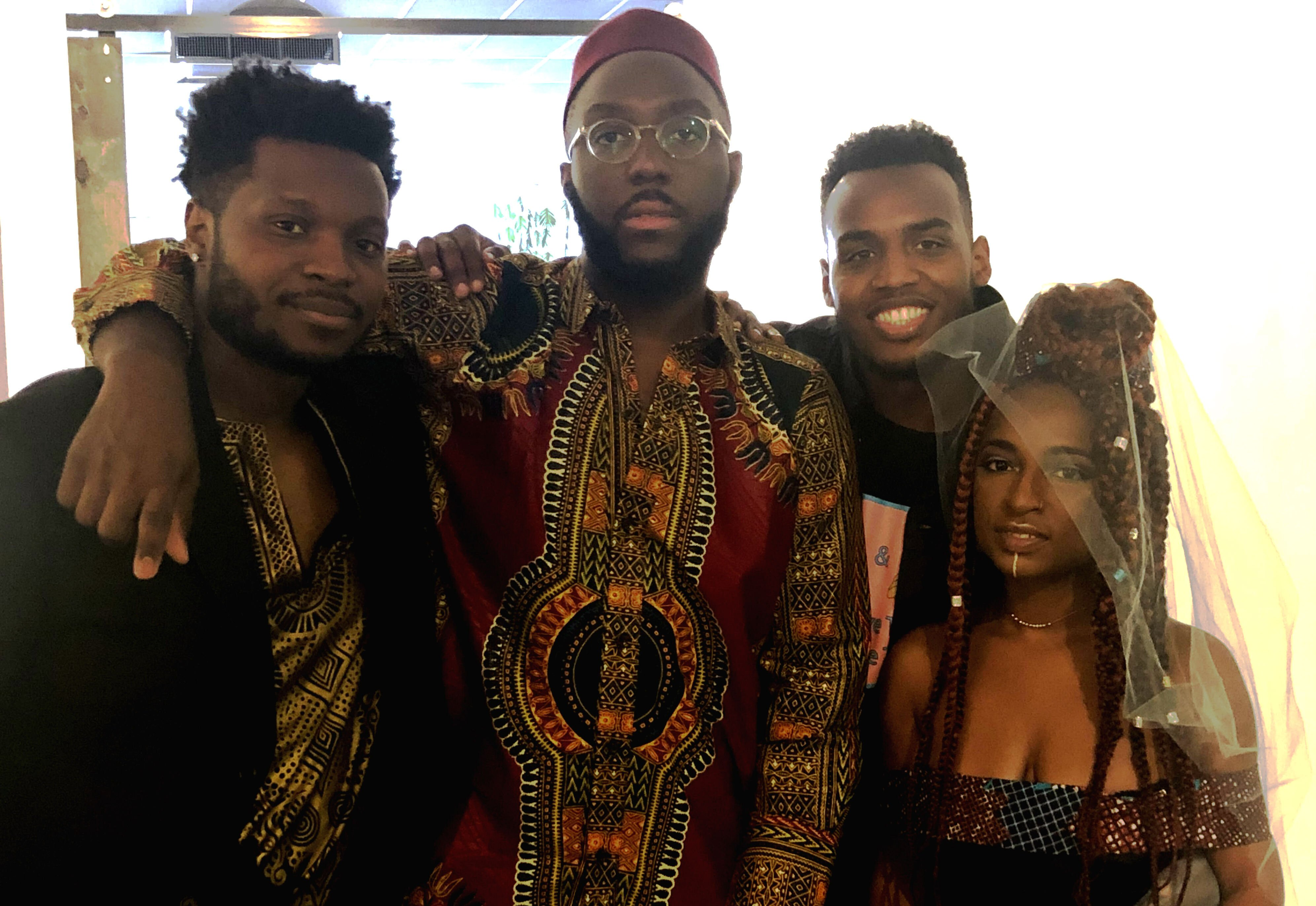 (L to R) Kenneth Alexander, Jared Boyd, Kid Maestro and Amber George attend The CLTV's Juneteenth gala. (Erica Horton)