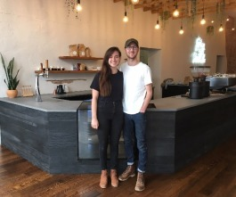 Amy and Hayes McPherson stand ready for the grand opening of Comeback Coffee in the Pinch, at 358 North Main Street, on Saturday, March 29. (Kim Coleman)