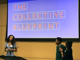 A Wheel of Fortune-style presentation revealed The Collective's new name, The Collective Blueprint, at their unveiling event on October 16. (Brandi Hunter)